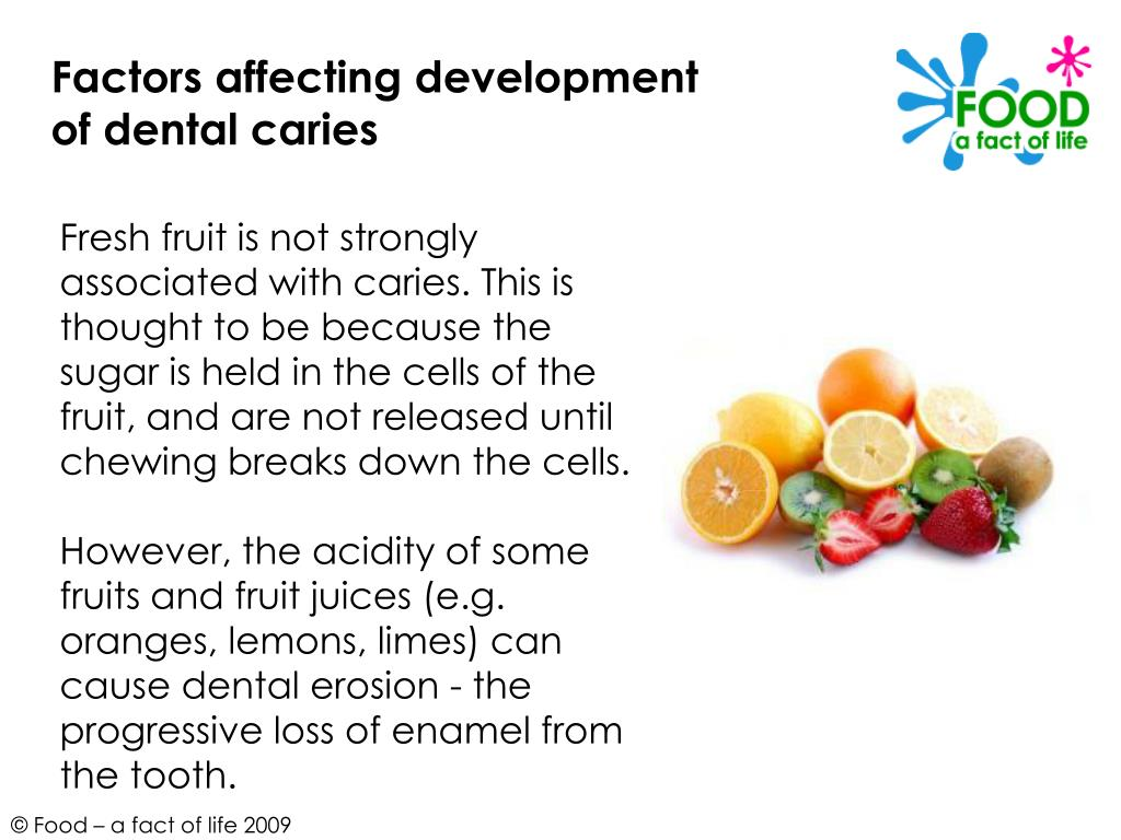 Factors affecting development of dental caries