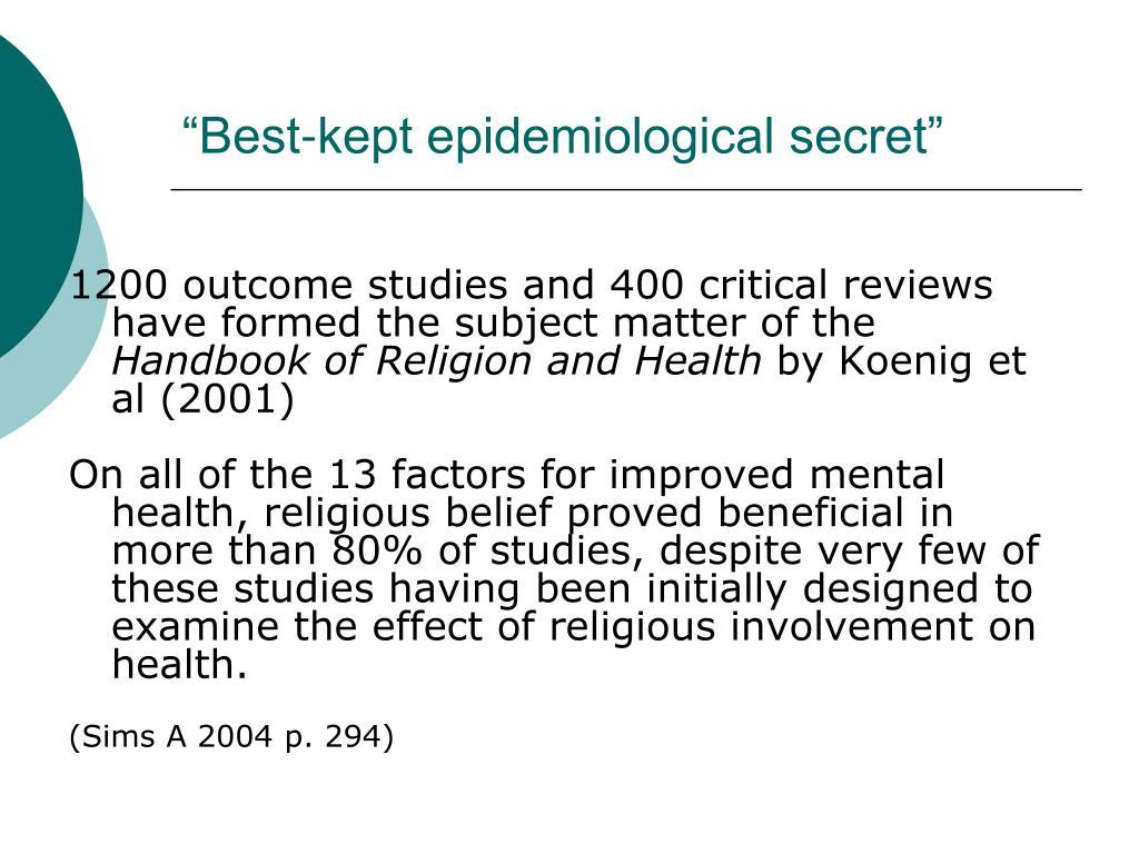 """""""Best-kept epidemiological secret"""""""