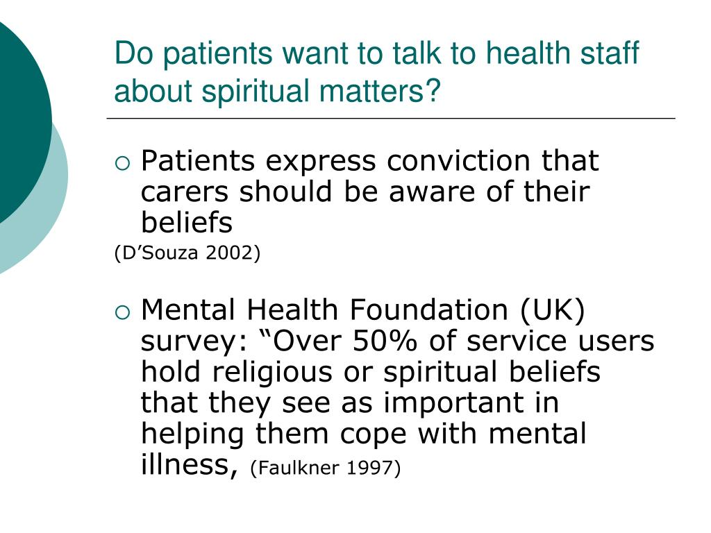 Do patients want to talk to health staff about spiritual matters?