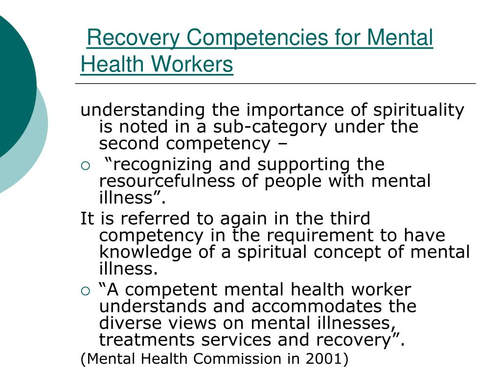 Recovery Competencies for Mental Health Workers