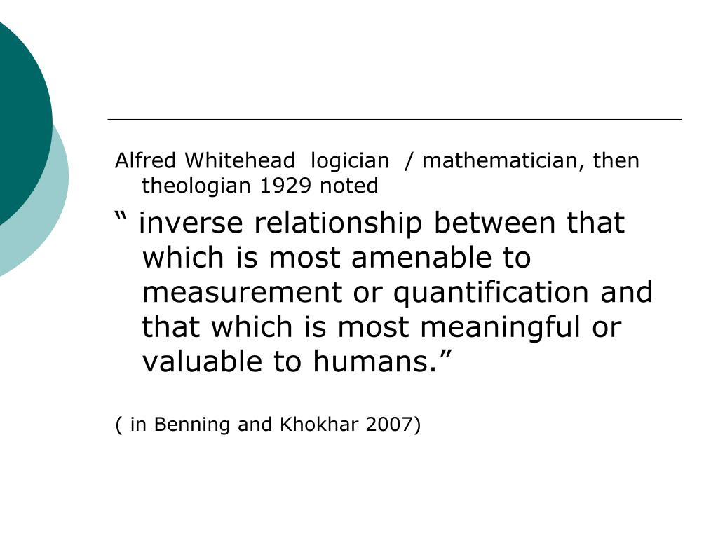 Alfred Whitehead  logician  / mathematician, then theologian 1929 noted