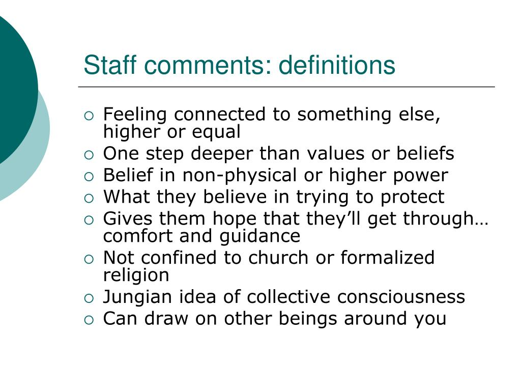 Staff comments: definitions
