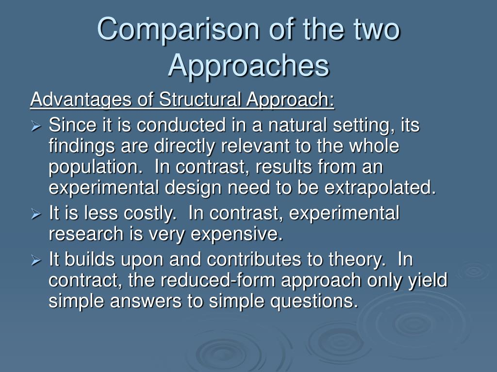 Comparison of the two Approaches