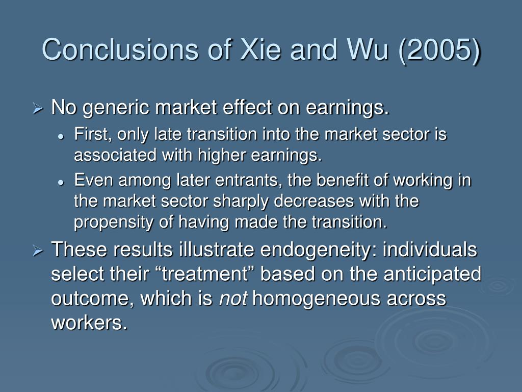 Conclusions of Xie and Wu (2005)