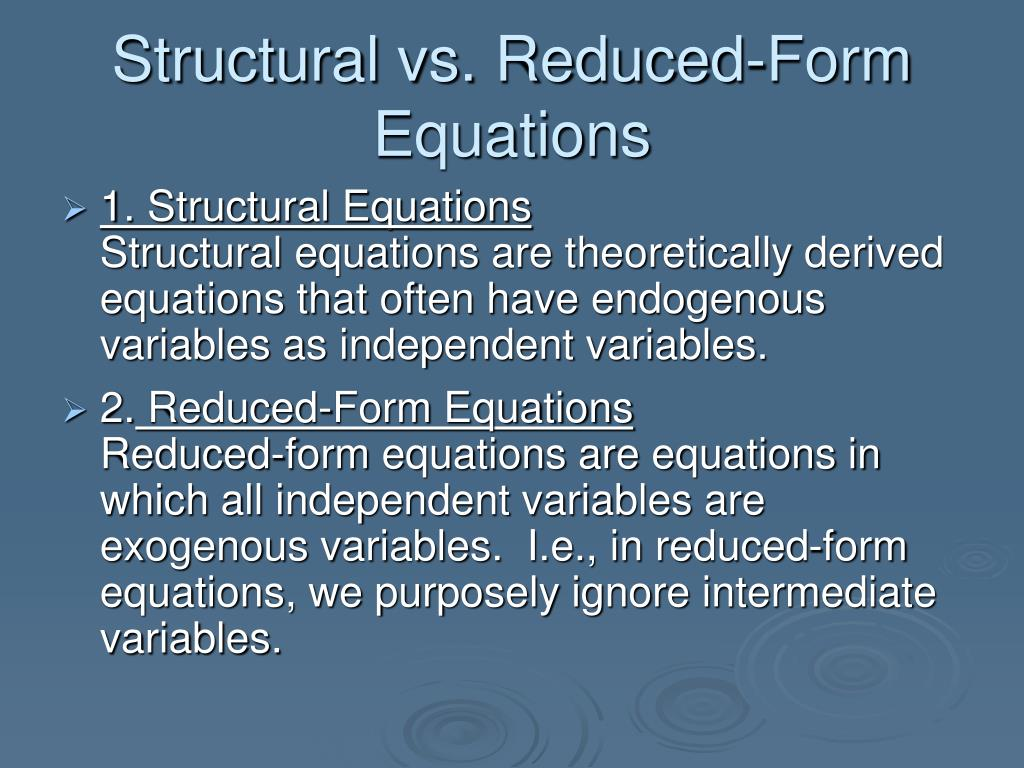 Structural vs. Reduced-Form Equations