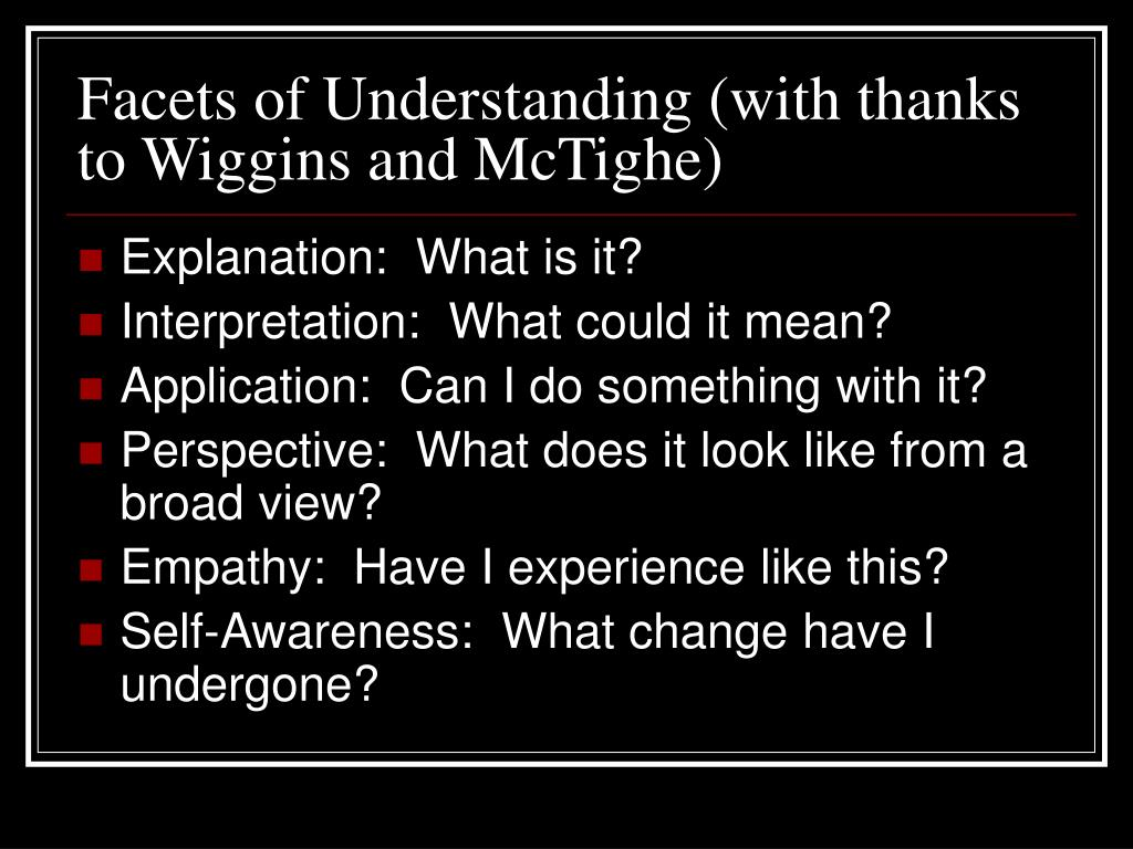 Facets of Understanding (with thanks to Wiggins and McTighe)