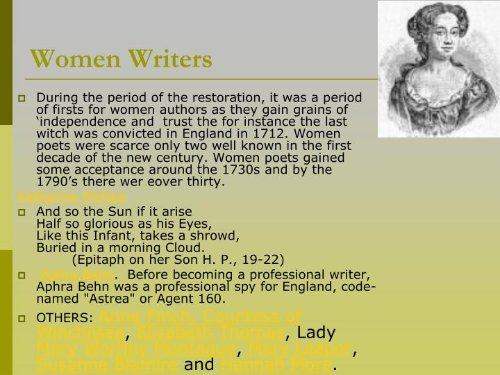 women writers restoration and 18th century Our restoration and eighteenth-century area group offers courses and  cultural  studies, gender and women's writing, race and african-british writing,.