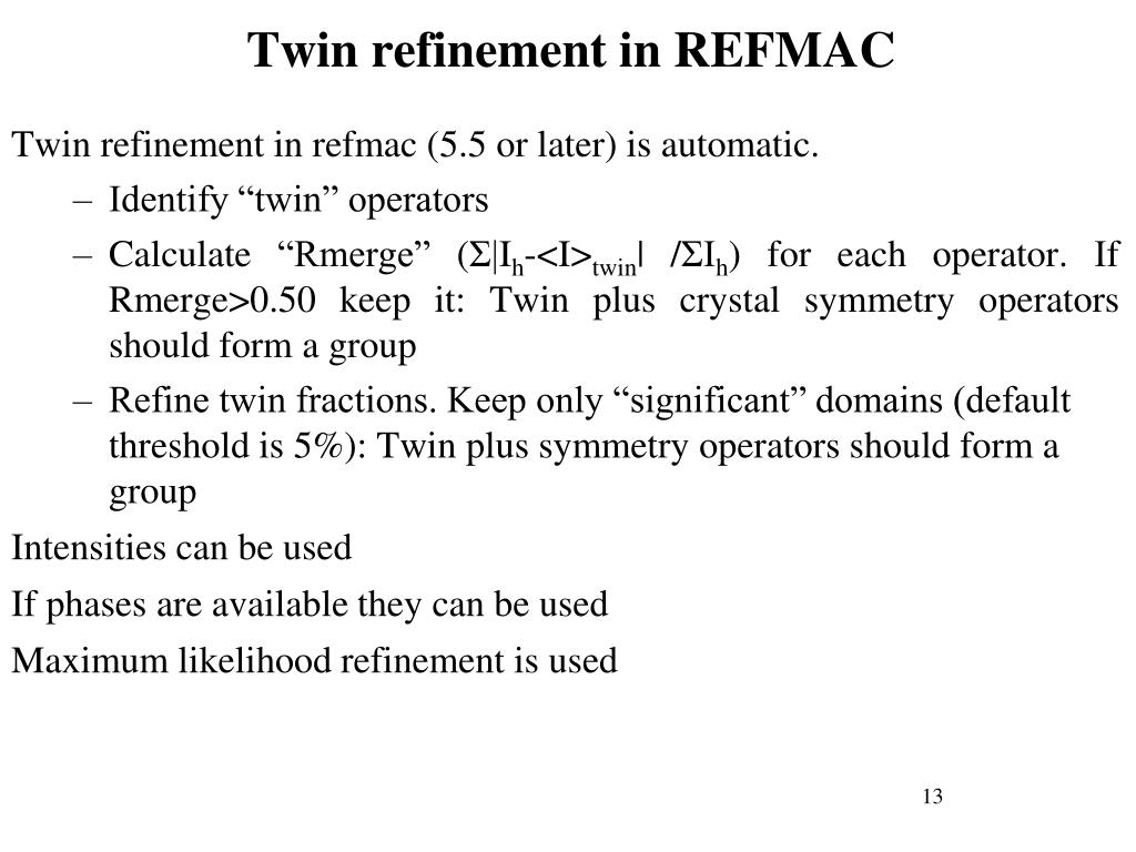 Twin refinement in REFMAC