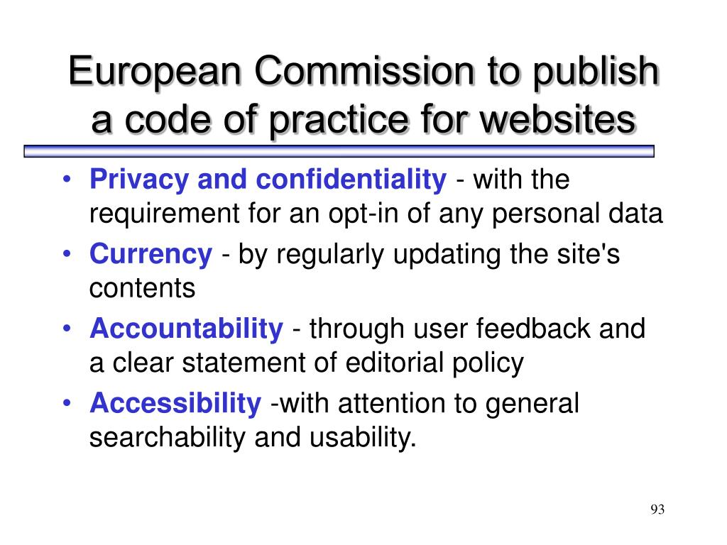 European Commission to publish a code of practice for websites