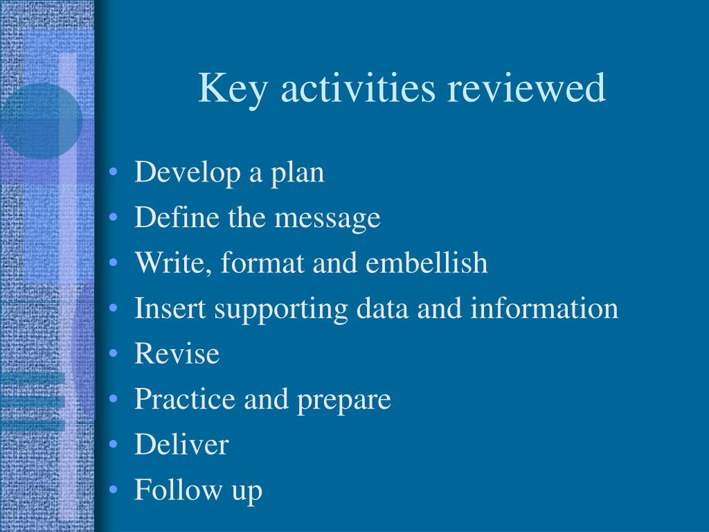 Key activities reviewed
