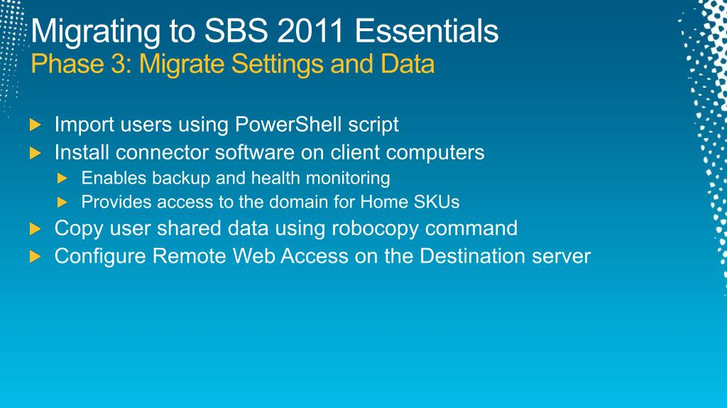 Migrating to SBS 2011
