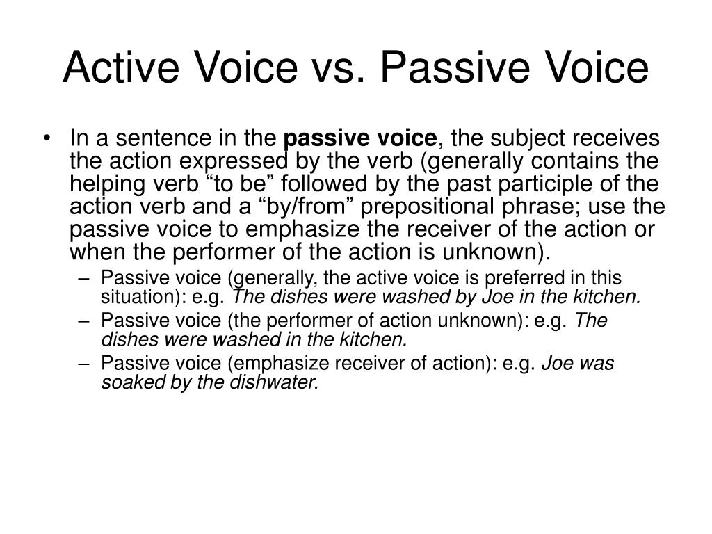 how to change from active voice to passive voice