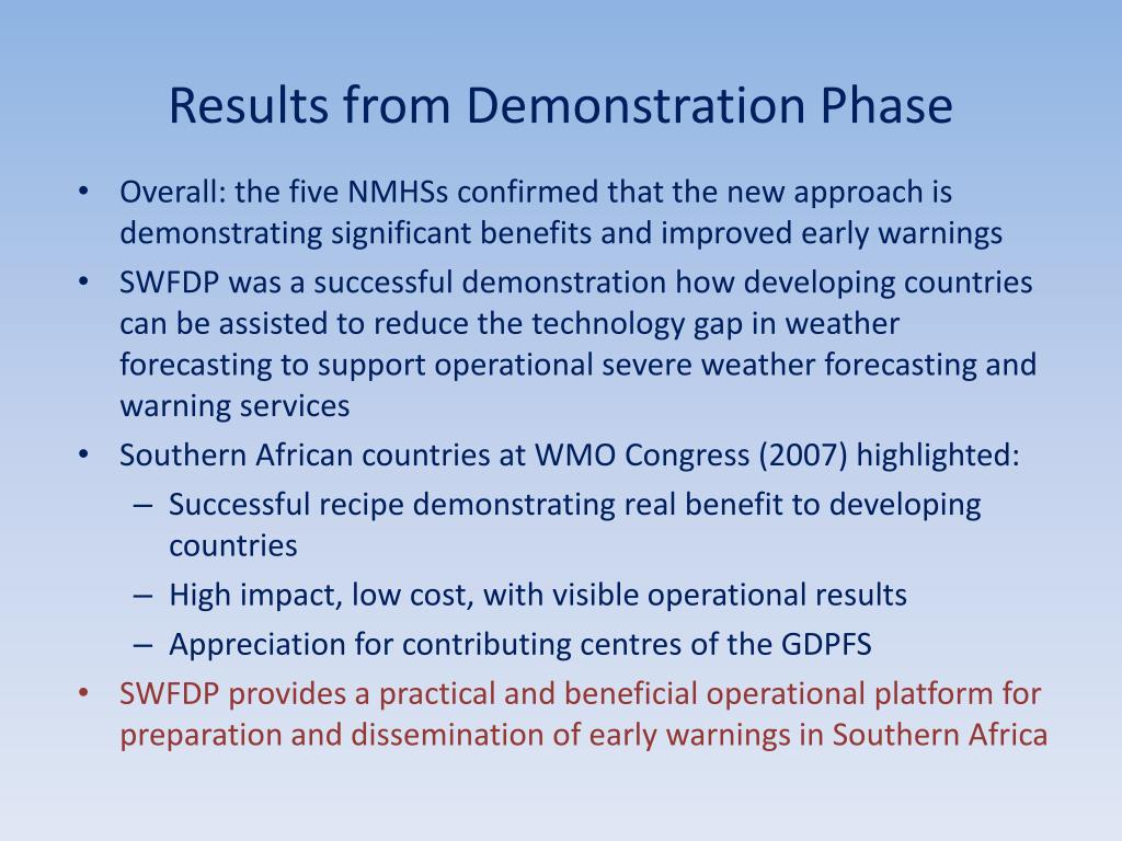 Results from Demonstration Phase