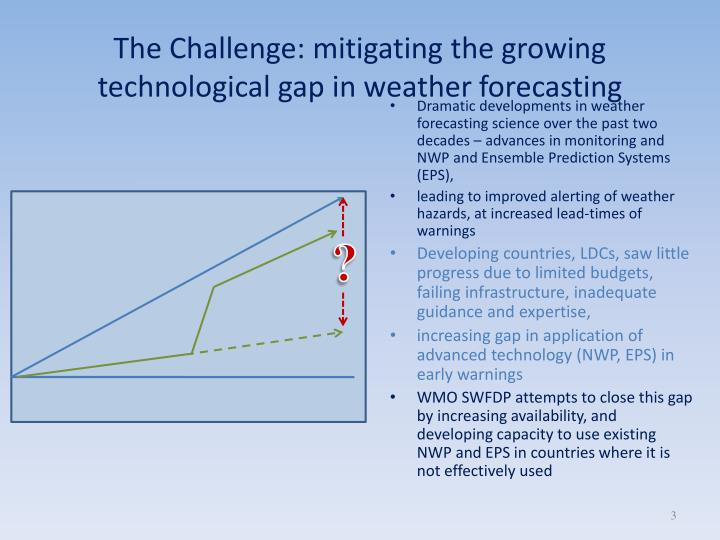 The challenge mitigating the growing technological gap in weather forecasting