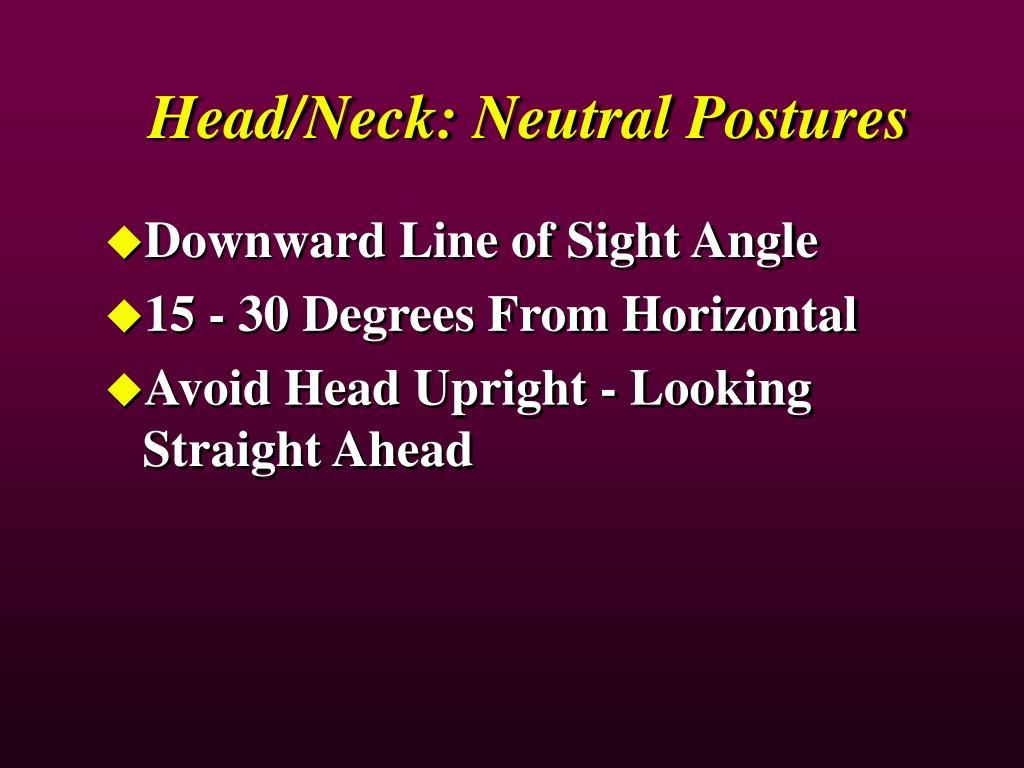 Head/Neck: Neutral Postures