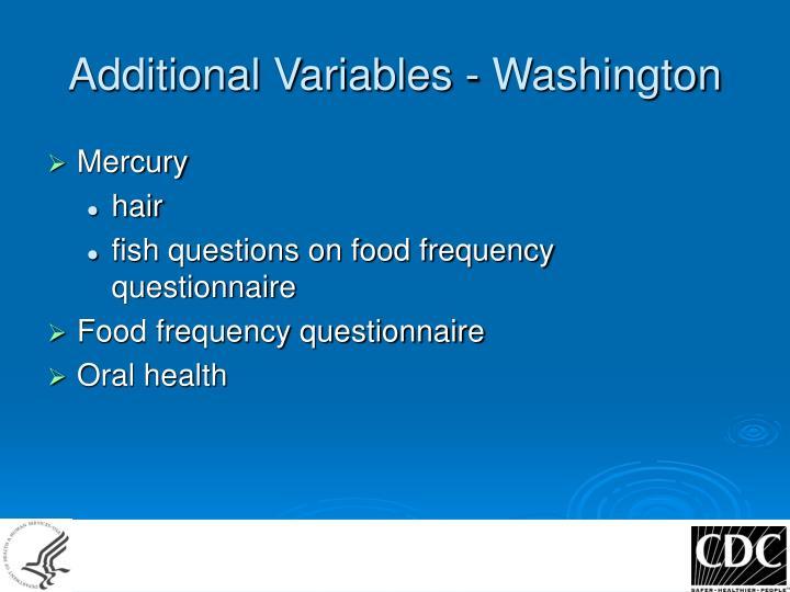Additional Variables - Washington