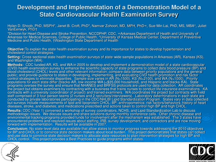 Development and Implementation of a Demonstration Model of a State Cardiovascular Health Examination Survey