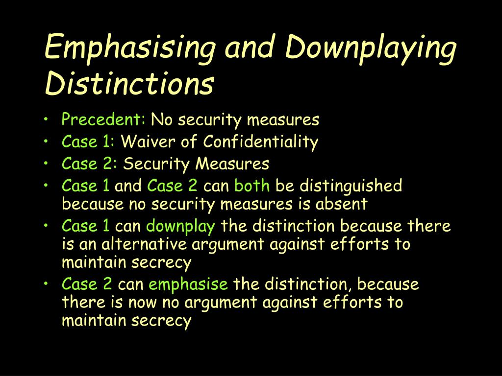 Emphasising and Downplaying Distinctions
