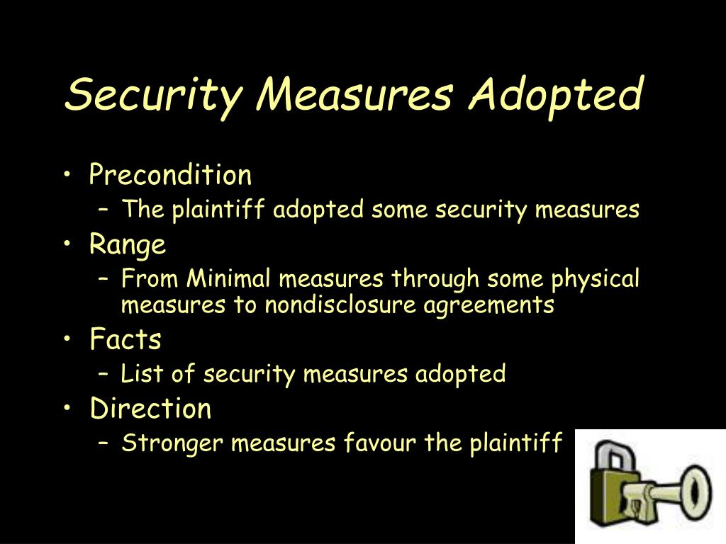 Security Measures Adopted