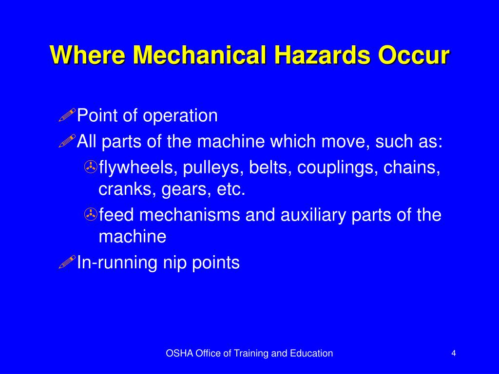 Where Mechanical Hazards Occur