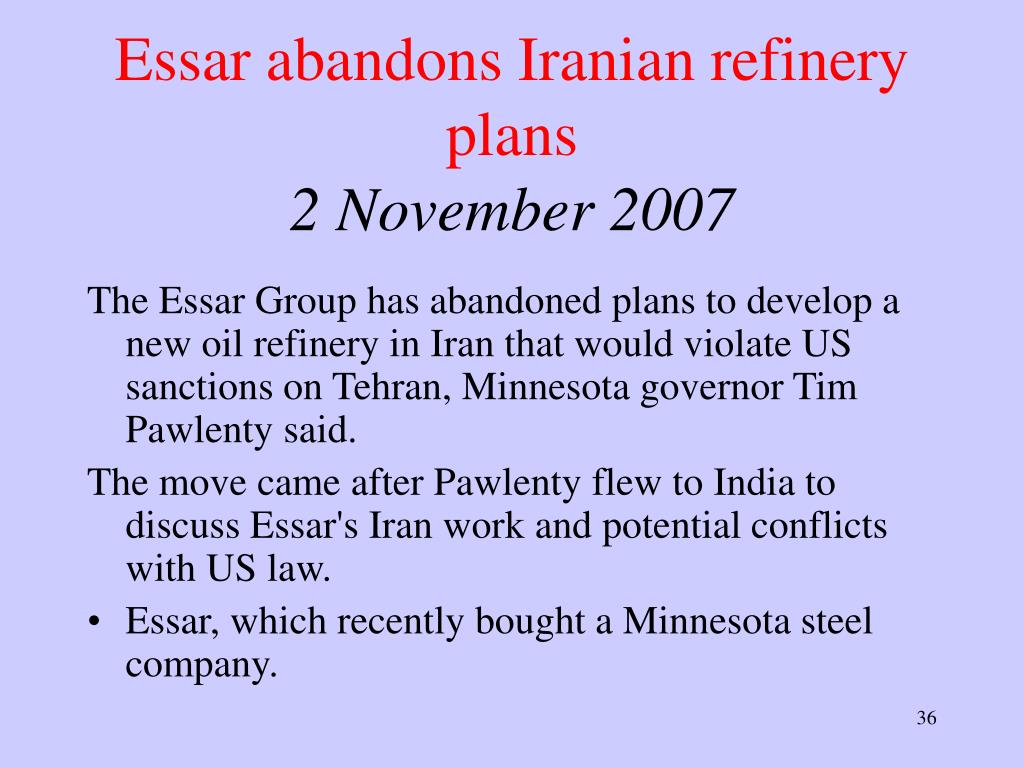 Essar abandons Iranian refinery plans