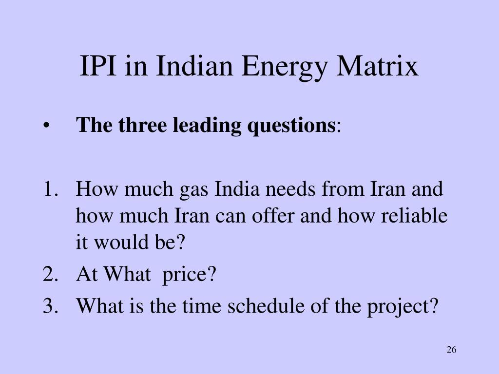IPI in Indian Energy Matrix