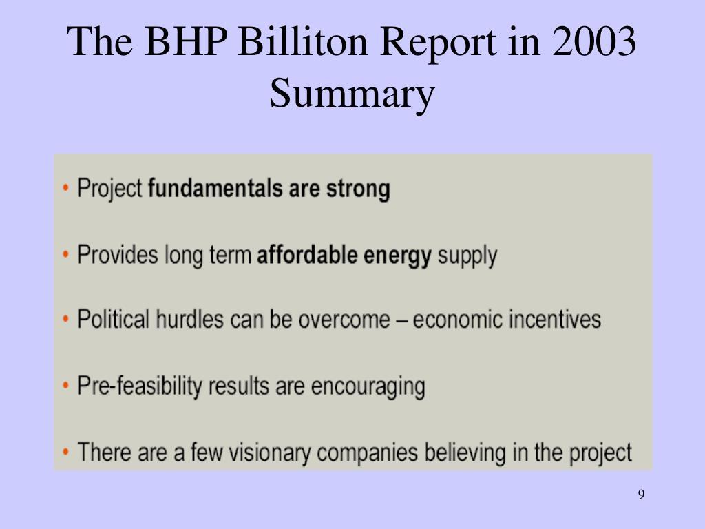 The BHP Billiton Report in 2003