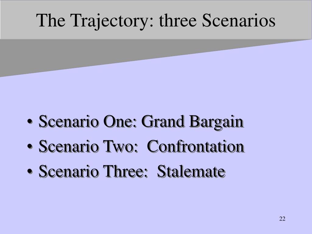 The Trajectory: three Scenarios