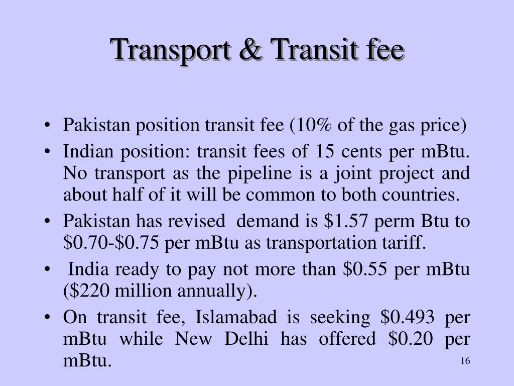 Transport & Transit fee