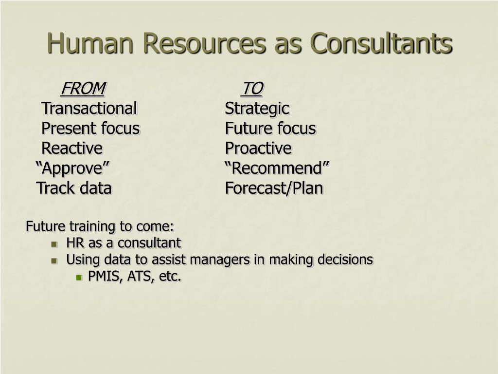 Human Resources as Consultants