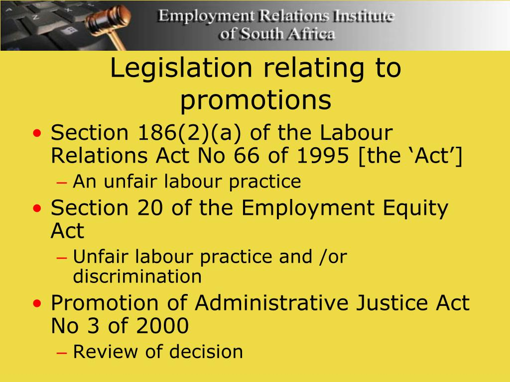 Legislation relating to promotions