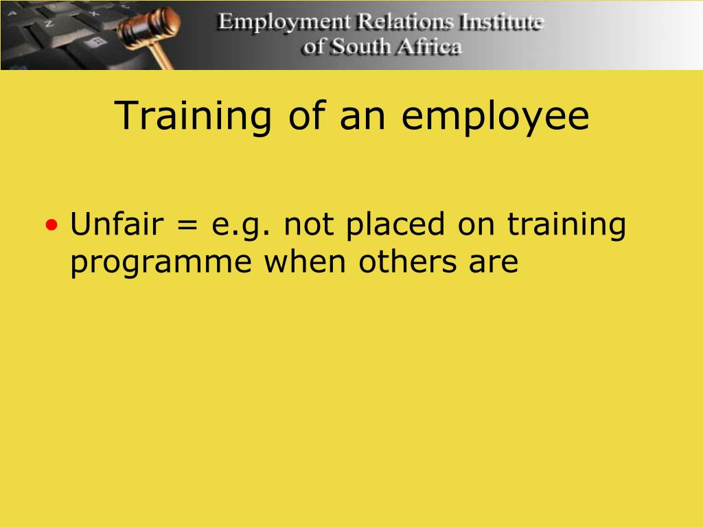 Training of an employee