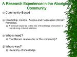 a research experience in the aboriginal community15