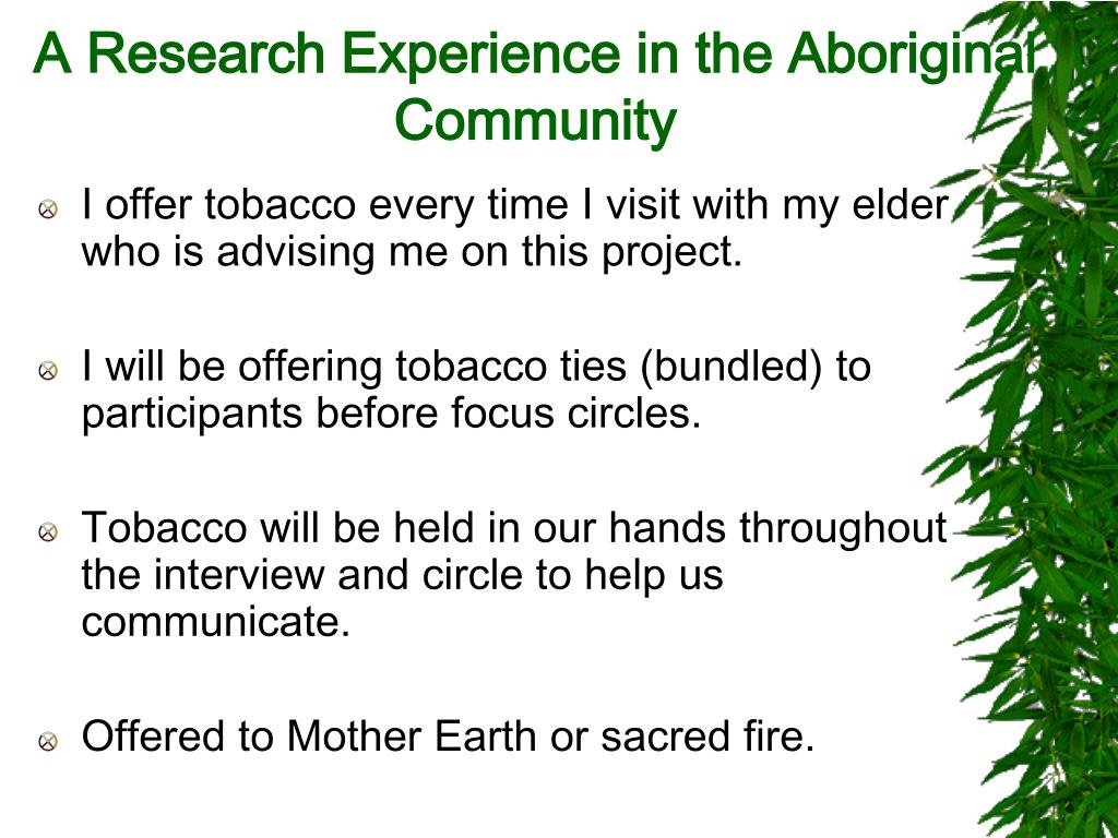 A Research Experience in the Aboriginal Community