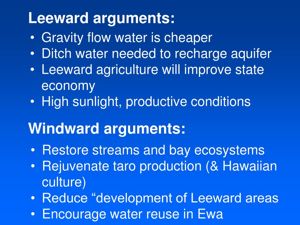 Leeward arguments: