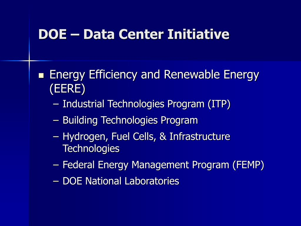 DOE – Data Center Initiative