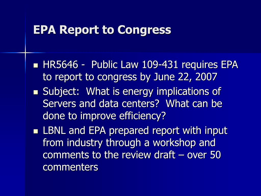 EPA Report to Congress