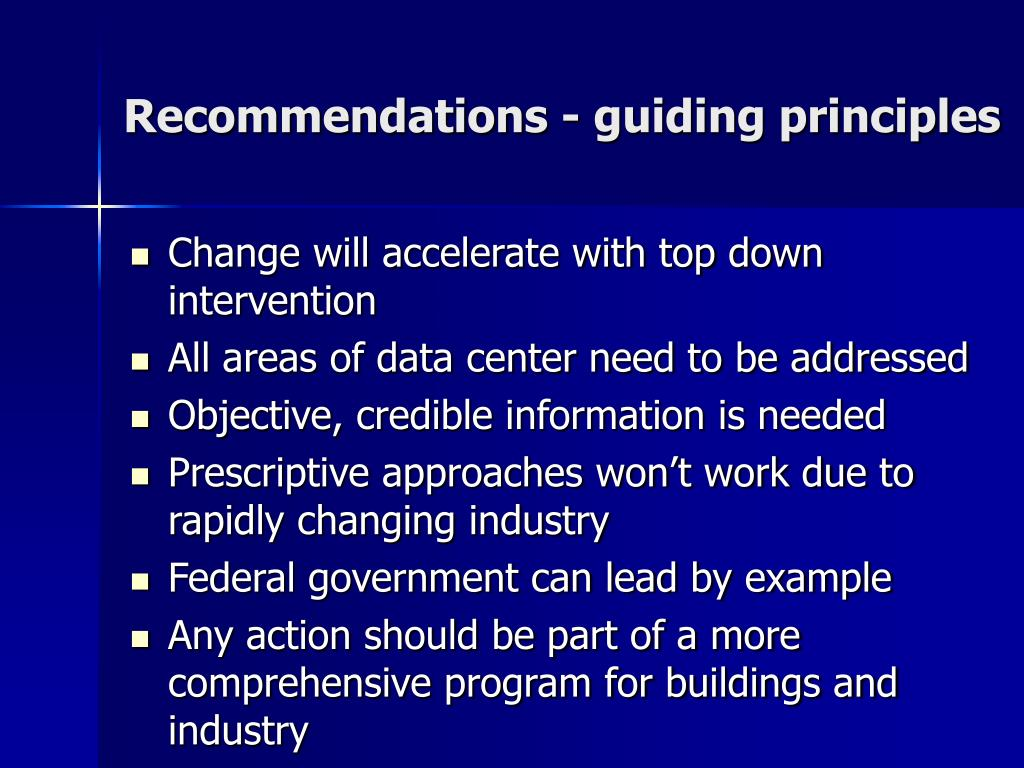Recommendations - guiding principles