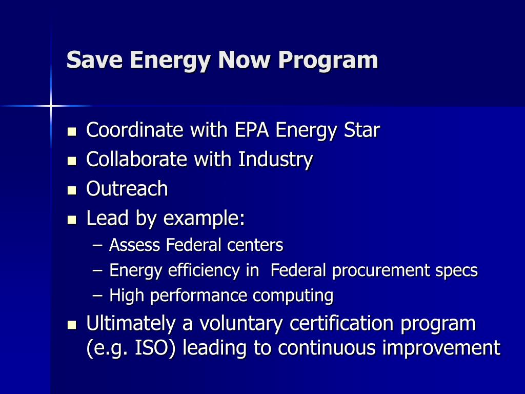 Save Energy Now Program
