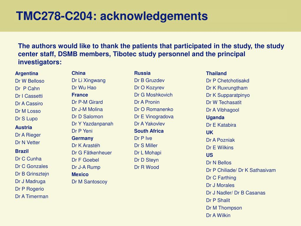 TMC278-C204: acknowledgements
