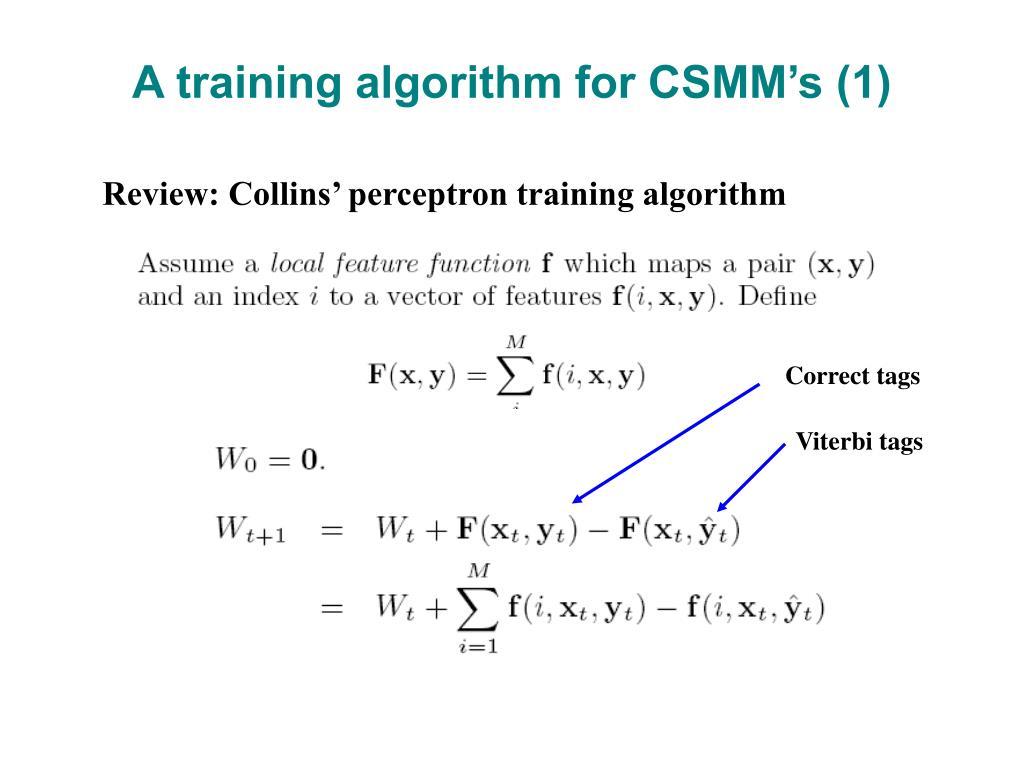 A training algorithm for CSMM's (1)