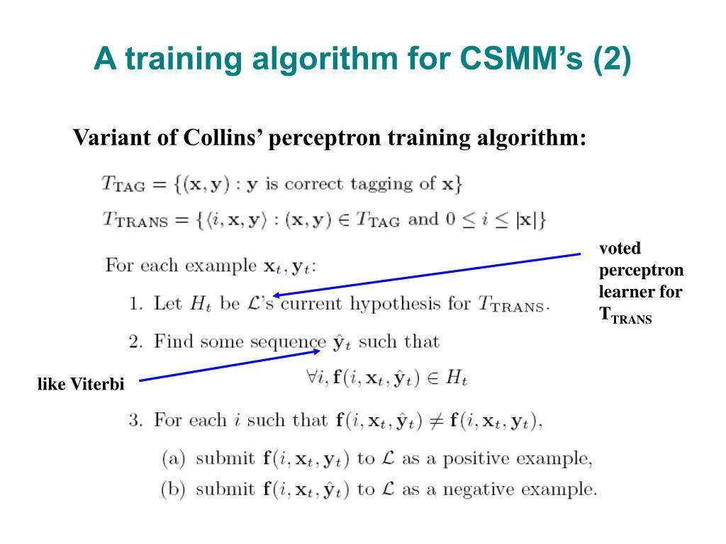 A training algorithm for CSMM's (2)