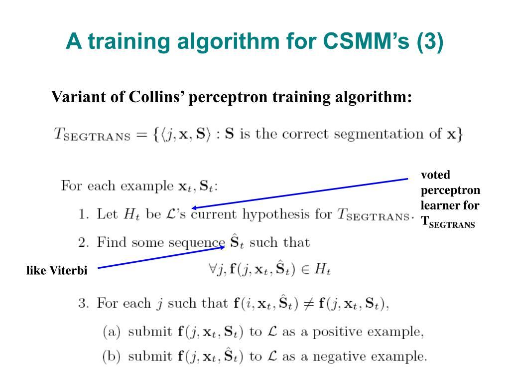 A training algorithm for CSMM's (3)