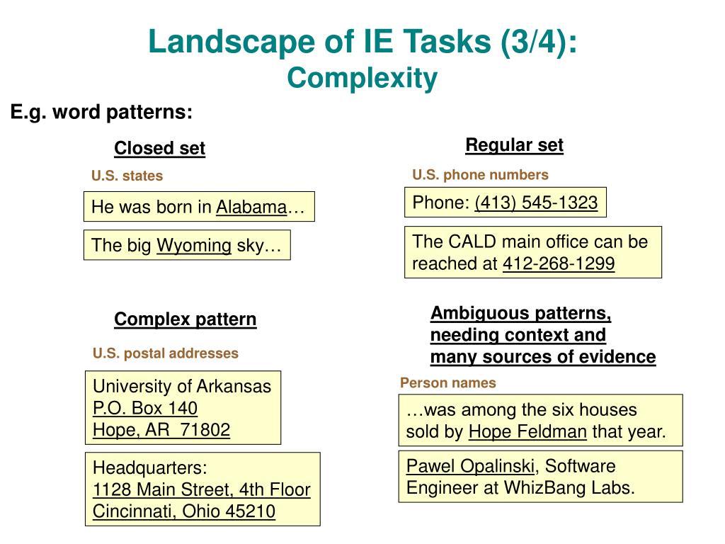 Landscape of IE Tasks (3/4):