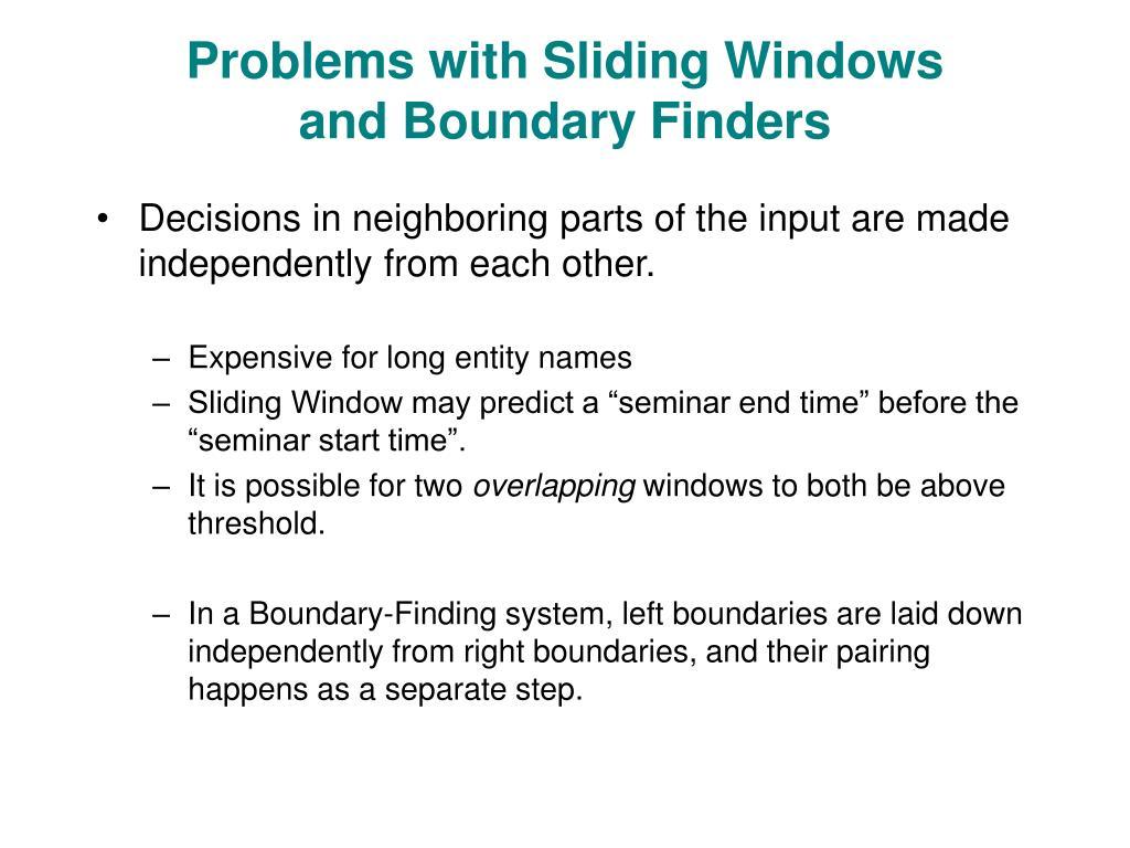 Problems with Sliding Windows