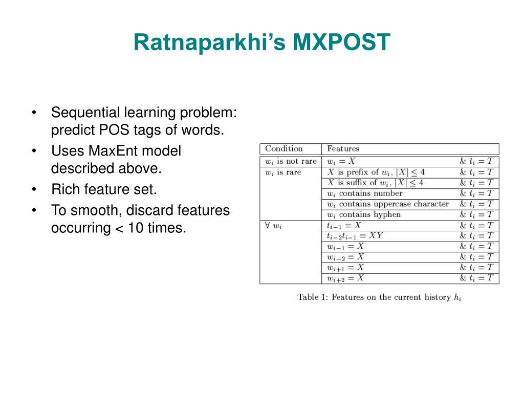 Ratnaparkhi's MXPOST