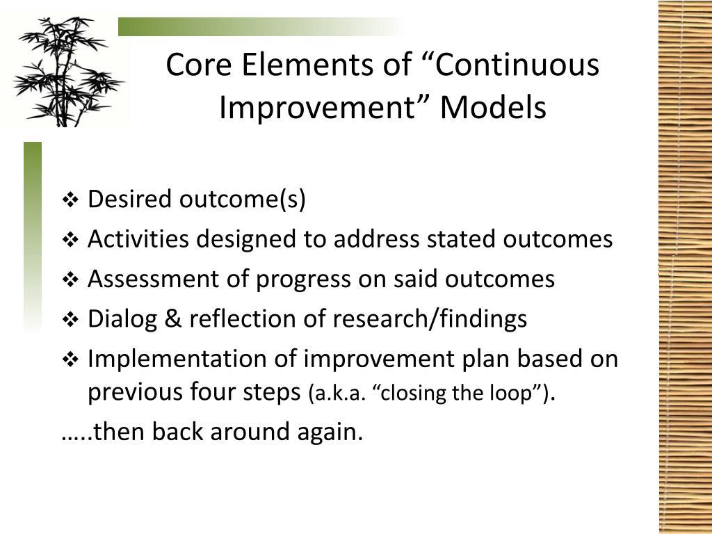 """Core Elements of """"Continuous Improvement"""" Models"""