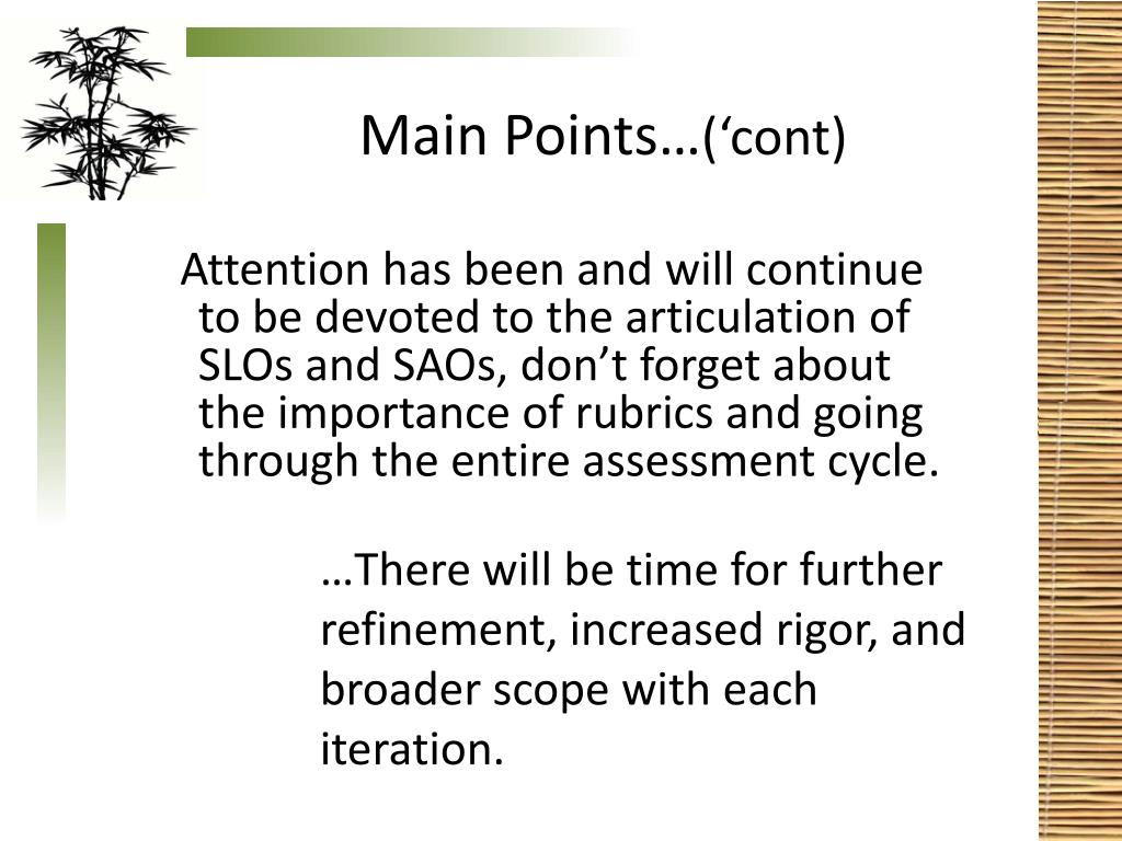 Main Points…