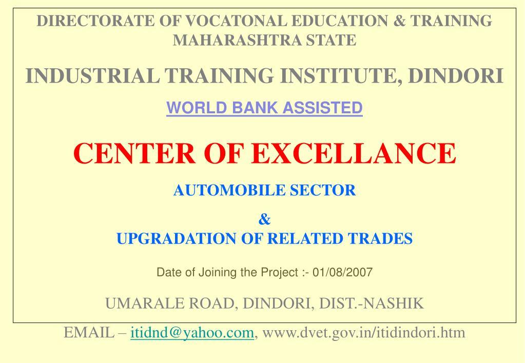 DIRECTORATE OF VOCATONAL EDUCATION & TRAINING MAHARASHTRA STATE