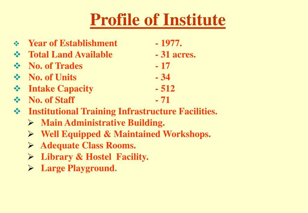 Profile of Institute
